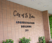 City of La Habra Administration Building view of the sign on the building